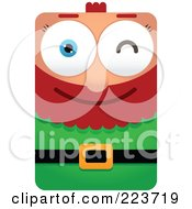 Royalty Free RF Clipart Illustration Of A Rectangular Christmas Elf Winking