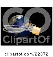 Clipart Illustration Of Planet Earth Tied Up In Metal Chains And Padlocked Over A Starry Black Outer Space Background