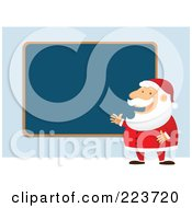 Royalty Free RF Clipart Illustration Of Santa Talking And Planning By A Blank Blue Board