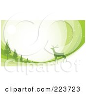 Royalty Free RF Clipart Illustration Of A Christmas Background Of A Reindeer Under The Moonlight Near Trees Over Green Swooshes