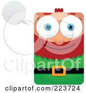 Royalty Free RF Clipart Illustration Of A Rectangular Christmas Elf With A Word Balloon