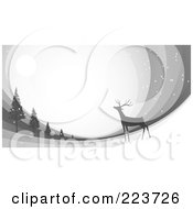 Royalty Free RF Clipart Illustration Of A Christmas Background Of A Reindeer Under The Moonlight Near Trees Over Gray Swooshes