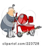 Royalty Free RF Clipart Illustration Of A Caucasian Worker Man Standing By A Cement Mixer