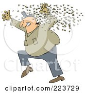 Chubby Man Running Away From A Swarm Of Bees