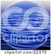 Clipart Illustration Of Blue Planet Earth With A Rippling Water Pattern