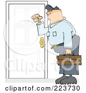 Royalty Free RF Clipart Illustration Of A Caucasian Worker Man Knocking On A Door