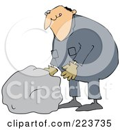 Royalty Free RF Clipart Illustration Of A Caucasian Worker Man Moving A Large Rock