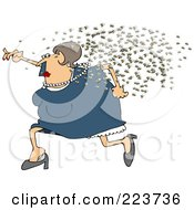 Royalty Free RF Clipart Illustration Of A Chubby Woman Running Away From A Swarm Of Bees