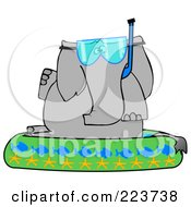 Royalty Free RF Clipart Illustration Of An Elephant Wearing A Snorkel Mask And Sitting In A Kiddie Pool by djart