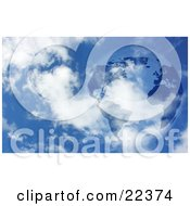 Clipart Illustration Of Planet Earth With Dark Continents Floating In A Blue Sky With White Clouds by KJ Pargeter