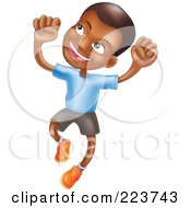 Royalty Free RF Clipart Illustration Of A Happy African American Boy Smiling And Jumping Into The Air by AtStockIllustration