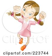 Royalty Free RF Clipart Illustration Of A Happy Caucasian Girl Smiling And Jumping Into The Air