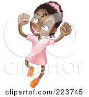 Royalty Free RF Clipart Illustration Of A Happy African American Girl Smiling And Jumping Into The Air by AtStockIllustration