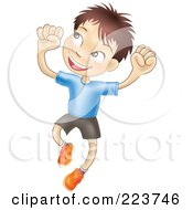 Royalty Free RF Clipart Illustration Of A Happy Caucasian Boy Smiling And Jumping Into The Air