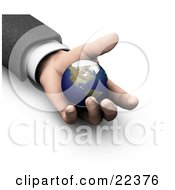 Clipart Illustration Of A Businessmans Hand Holding The Earth Symbolizing Protection Opportunity And Security