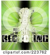 Royalty Free RF Clipart Illustration Of A Black White And Green Recycling Word Collage With A Zoom Effect