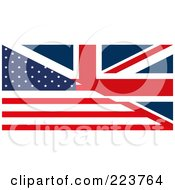 Royalty Free RF Clipart Illustration Of A Half United Kingdom And Half American Flag Background by MacX