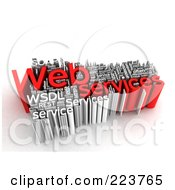 Royalty Free RF Clipart Illustration Of A 3d White And Red Web Services Word Collage by MacX