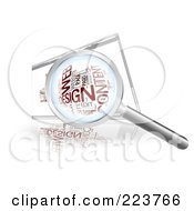 Magnifying Glass Over A Web Design Word Collage On An Internet Browser Screen