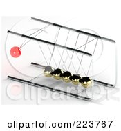 Royalty Free RF Clipart Illustration Of A 3d Red Pendulum Ball Swinging Towards Gold Balls 3 by MacX