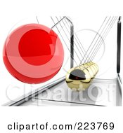 Royalty Free RF Clipart Illustration Of A 3d Red Pendulum Ball Swinging Towards Gold Balls 1 by MacX