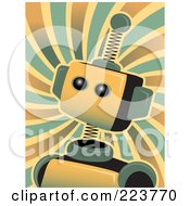 Royalty Free RF Clipart Illustration Of A Springy Robot Head Over Swirls