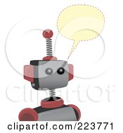 Royalty Free RF Clipart Illustration Of A Springy Robot With A Yellow Word Balloon