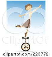 Royalty Free RF Clipart Illustration Of A Talented Woman Balancing On One Foot On A Unicycle