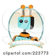 Royalty Free RF Clipart Illustration Of A Springy Robot Logo With Halftone And A Blank Banner