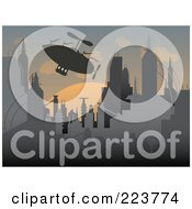 Royalty Free RF Clipart Illustration Of A Silhouetted Airship Over A Futuristic City At Sunset by mheld