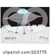 Royalty Free RF Clipart Illustration Of A UFO On A Planet With Craters by mheld