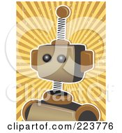 Royalty Free RF Clipart Illustration Of A Springy Robot Head Over Grungy Brown And Yellow Rays