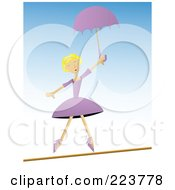 Royalty Free RF Clipart Illustration Of A Talented Woman Balancing On A Tight Rope With An Umbrella by mheld