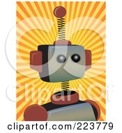 Royalty Free RF Clipart Illustration Of A Springy Robot Head Over Orange And Yellow Rays