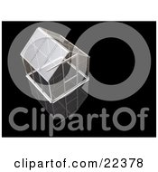 Clipart Illustration Of An Empty Glass Greenhouse With A Silver Frame Over A Black Background