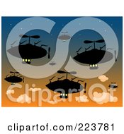 Royalty Free RF Clipart Illustration Of A Group Of Silhouetted Air Ships In A Sunset Sky by mheld