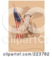 Royalty Free RF Clipart Illustration Of A Labor Day Background Of A Factory Worker Carrying An American Flag Over A Blank Banner On Tan by Pushkin