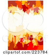 Royalty Free RF Clipart Illustration Of An Autumn Background Of Colorful Leaves And Halftone