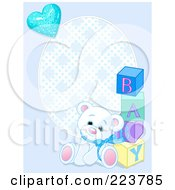 Royalty Free RF Clipart Illustration Of A Blue Boy Teddy Bear Baby Background