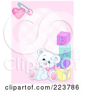 Royalty Free RF Clipart Illustration Of A Pink Girl Teddy Bear Baby Background