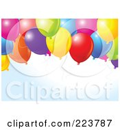 Royalty Free RF Clipart Illustration Of A Birthday Party Background Of Colorful Balloons Over Faint Blue