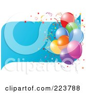 Royalty Free RF Clipart Illustration Of A Birthday Party Background Of Colorful Balloons Over A Blue Wave With Confetti On White