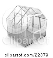 Empty Glass Greenhouse With A Silver Frame
