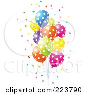 Royalty Free RF Clipart Illustration Of A Group Of Confetti And Colorful Polka Dot Balloons