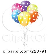 Royalty Free RF Clipart Illustration Of A Group Of Colorful Polka Dot Balloons by Pushkin