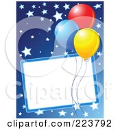 Birthday Party Background Of Colorful Balloons And Stars On Blue With A Blank Box
