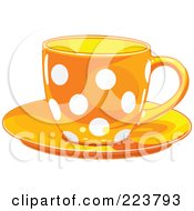 Royalty Free RF Clipart Illustration Of An Orange Polka Dot Tea Or Coffee Cup On A Saucer