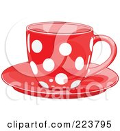 Royalty Free RF Clipart Illustration Of A Red Polka Dot Tea Or Coffee Cup On A Saucer