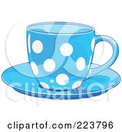 Royalty Free RF Clipart Illustration Of A Blue Polka Dot Tea Or Coffee Cup On A Saucer by Pushkin