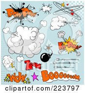 Royalty Free RF Clipart Illustration Of A Digital Collage Of Comic Clouds And Words 2